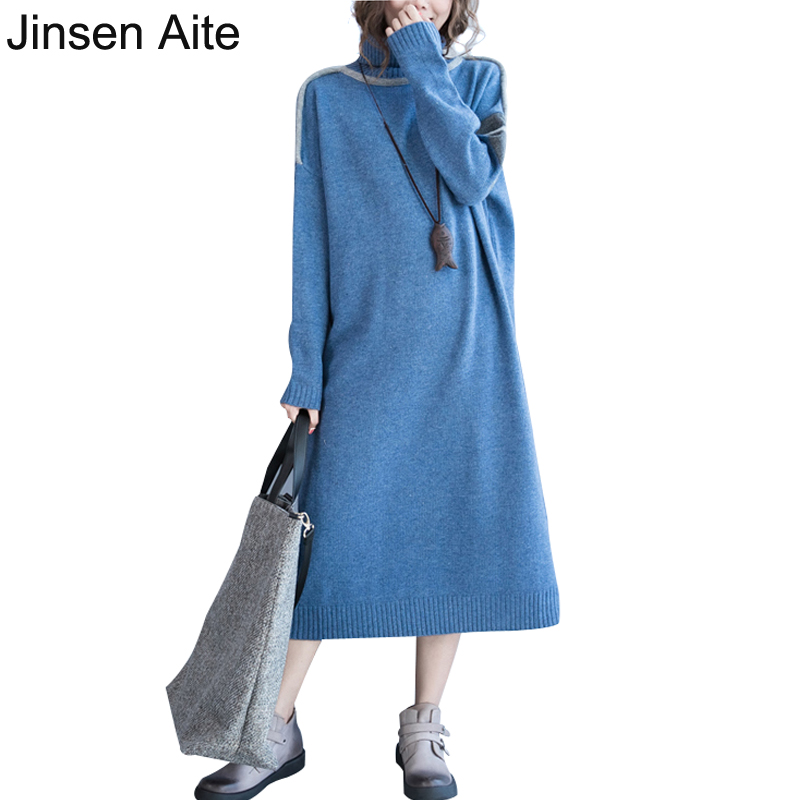 Jinsen Aite Winter Large Size Women Clothing Turtleneck Long Knitted Comfortable Warm Dress Loose Casual Sweater Vestido JS01 free people new purple women s size large l surplice popover sweater dress $128