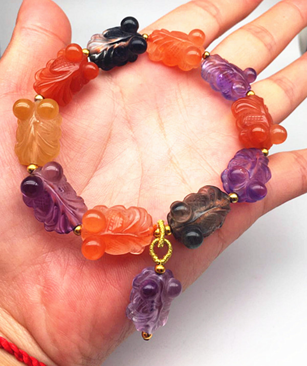 Natural quartz crystal polychromatic fingerling bracelet Natural quartz crystal polychromatic fingerling bracelet