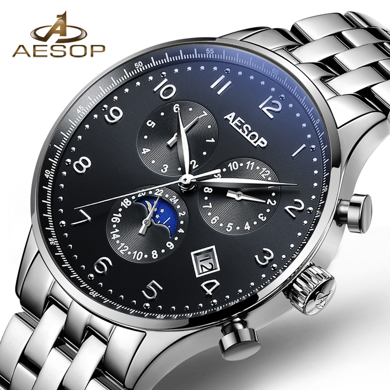 AESOP Fashion Watch Men Sapphire Crystal Dial Window Automatic Mechanical Wrist Wristwatch Male Clock Relogio Masculino 2018 46 fashion fngeen brand simple gridding texture dial automatic mechanical men business wrist watch calender display clock 6608g