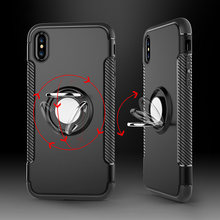 Ring Magnetic Car Holder Shockproof case For iphone X 10 8 7 6 5 s 6s plus 6plus 7plus 8plus Luxury Cell Phone Back Cover(China)