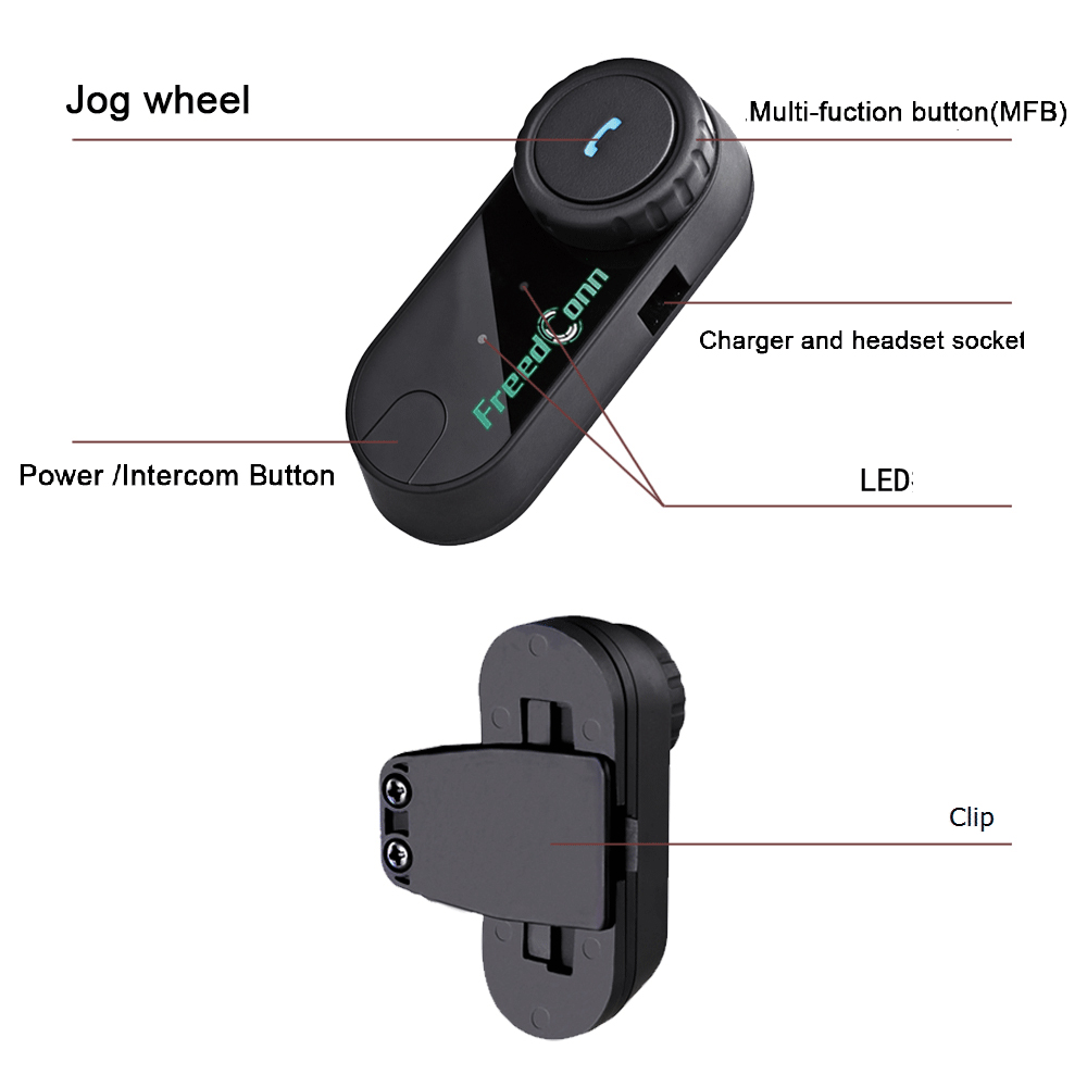 Image 3 - 2pcs FreedConn T COM FM Bluetooth Motorcycle Helmet Intercom 