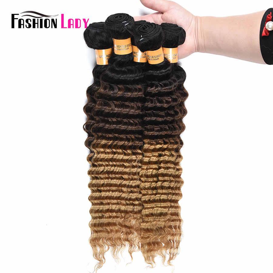 Fashion Lady Pre-Gekleurde Diepe Golf Bundels Ombre Braziliaanse Menselijk Haar Weave 1b 4 27 Blond Haar 3/4 Bundel per Pack Non-remy