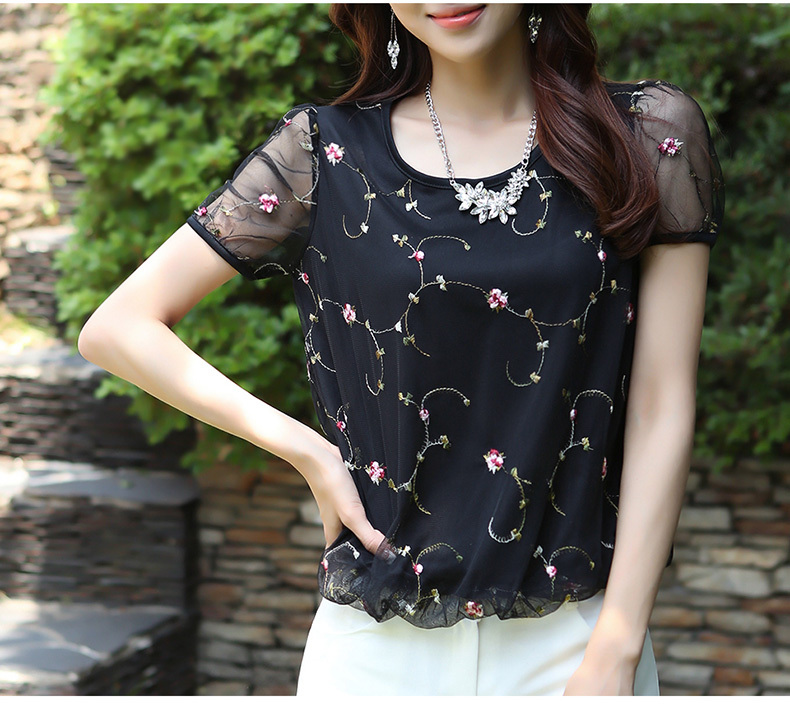 Women Blouse Casual Mesh Floral Lace Top Ladies Short Sleeve Chiffon Blouses Summer Clothes Women Tops Blusas Femininas S0387