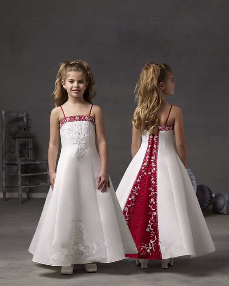 Unique Design Embroidery A-Line Spaghetti Straps   Flower     Girl     Dresses   for Wedding Party Custom Made
