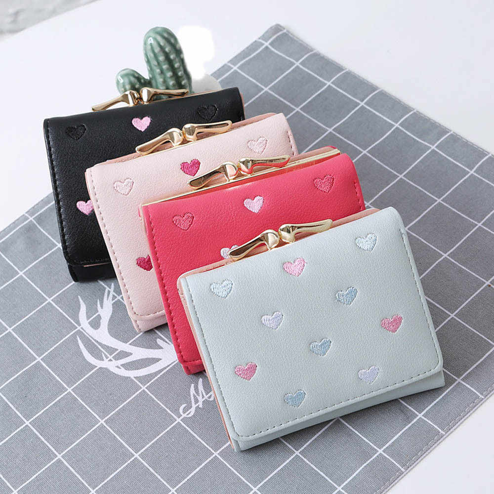 FashionTrendy Coin Purse Card LeatherWomen Wallets Large Capacity Cute Card Hold Short Purses   Money Bag