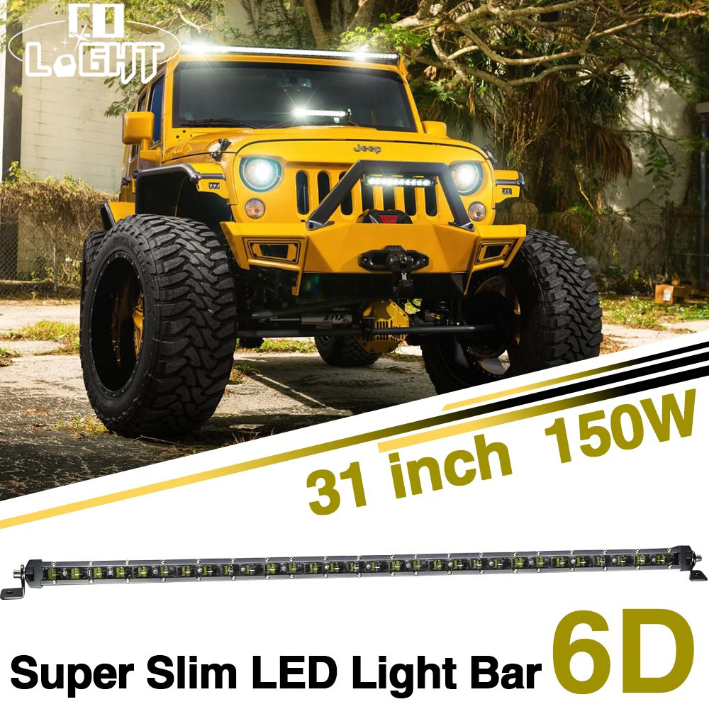 CO LIGHT Super Slim LED Light Bar 31 Inch12V 24V 150W Offroad Work Light Auto Combo Beam for 4X4 4WD Lada Jeep Ford Toyota 4X4 gamma gf 614 lada 4x4