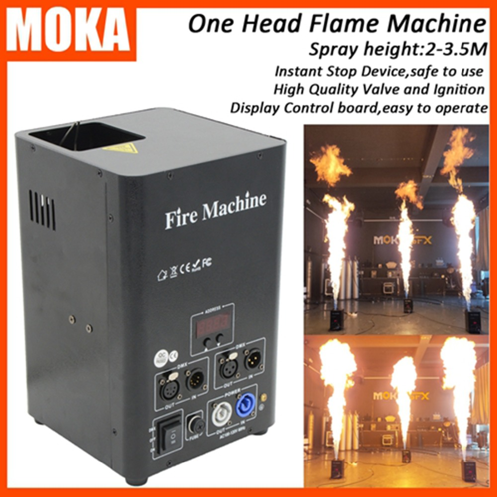 цена на 8 Pcs/lot stage FX dmx flame machine Fireworks Projector Stage Lighting Effect 3m fire jet machine