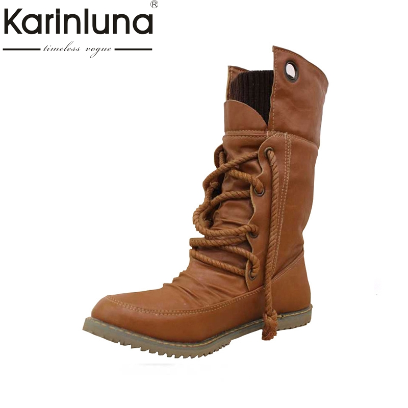 KARINLUNA Fashion Spring Autumn Boots Vintage Lace Up Flat Heels Med-calf Cowboy Boots Winter Add Fur Shoes Woman Big Size 34-43