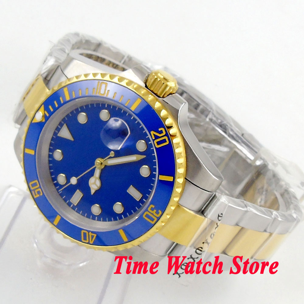 Bliger 40mm blue sterial dial date luminous saphire glass gold ring Ceramic Bezel Automatic movement Men's watch BL135