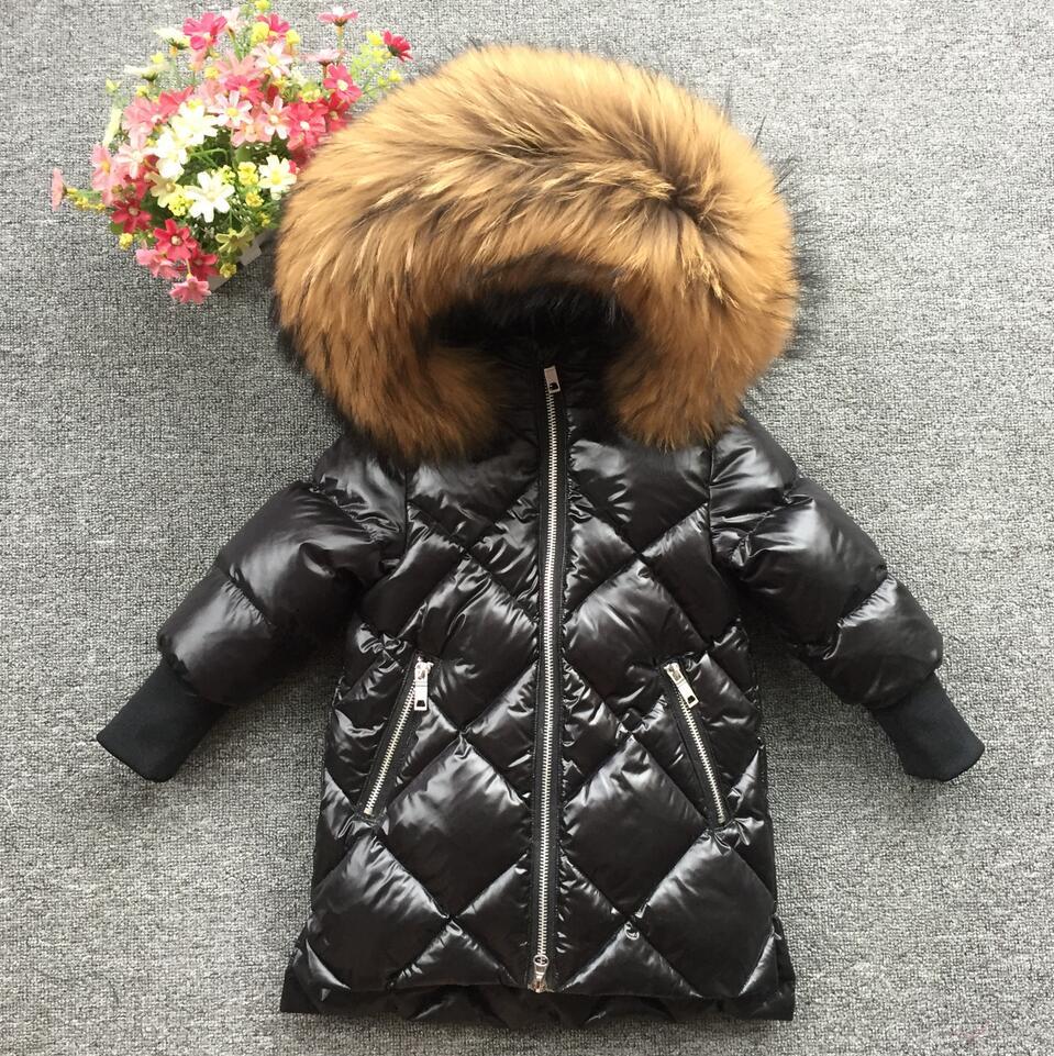 2018 Детская меховая толстовка с капюшоном и принтом перьев, зимнее пальто для девочек, зимняя куртка, длинная белая куртка на утином пуху для ...