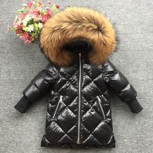 2018 Детская меховая толстовка с капюшоном и принтом перьев, зимнее пальто для девочек, зимняя куртка, длинная белая куртка на утином пуху для маленьких девочек, мягкие парки на пуху
