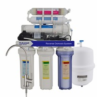 6 Stage Under Sink Reverse Osmosis Drinking Water Filtration System with Inline FIR Water Filter 75G/Power 200 240V/EU Plug