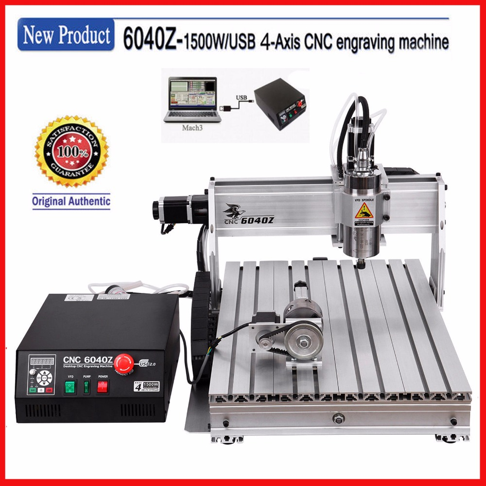 USB ! 4 axis 6040 cnc router ( 1.5KW spindle ) cnc engraving machine / pcb milling machine / wood carving router engraver 5 axis cnc router 6040 cnc router 1500w spindle ball screw cnc 6040 engraver engraving machine