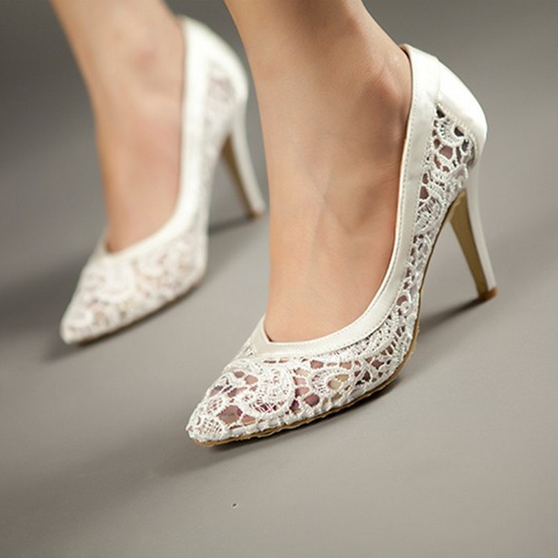 Women Cutout Satin Fabric High Heels Sexy Lace Wedding Shoes Shallow Mouth Pointed Toe Genuine Leather