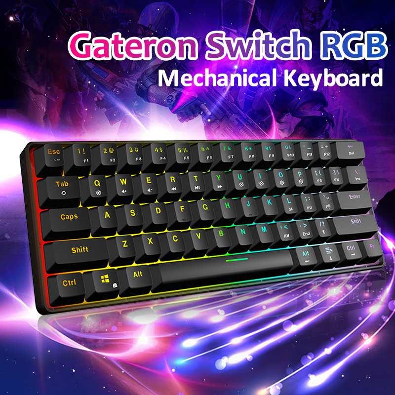 Gateron Switch 61 touches jeu RGB clavier mécanique axe optique peut être inséré câble axe mécanique jeux