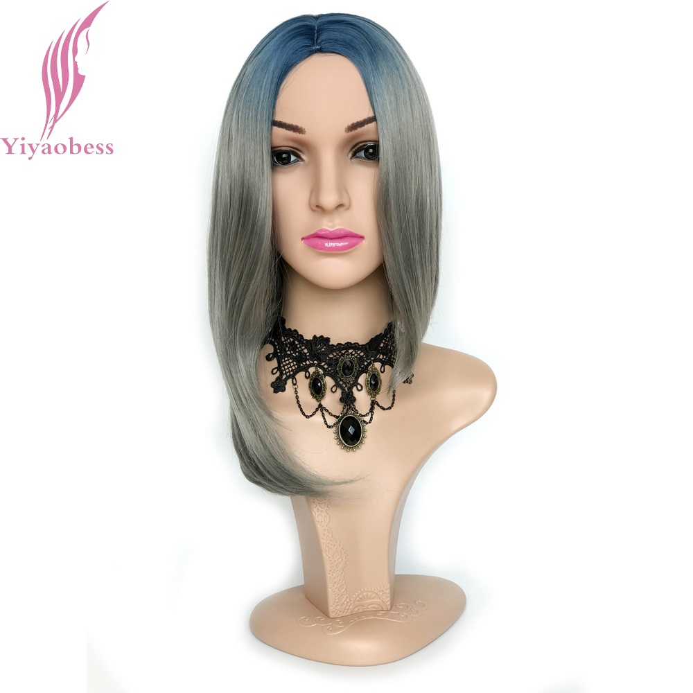 Yiyaobess Blue Gray Ombre Wig For Women Synthetic Heat Resistant Short Bob Funny Wigs Straight