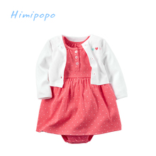 HIMIPOPO 2 pcs Baby Girls Bodysuit Dress & Cardigan Set Children Romper Baby Kids Clothes Soft Baby Girls Dresses Clothing Set