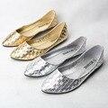40.41 женщины трикотаж яркость золото серебро лежа обувь мягкий леди свободного покроя весна осень обувь
