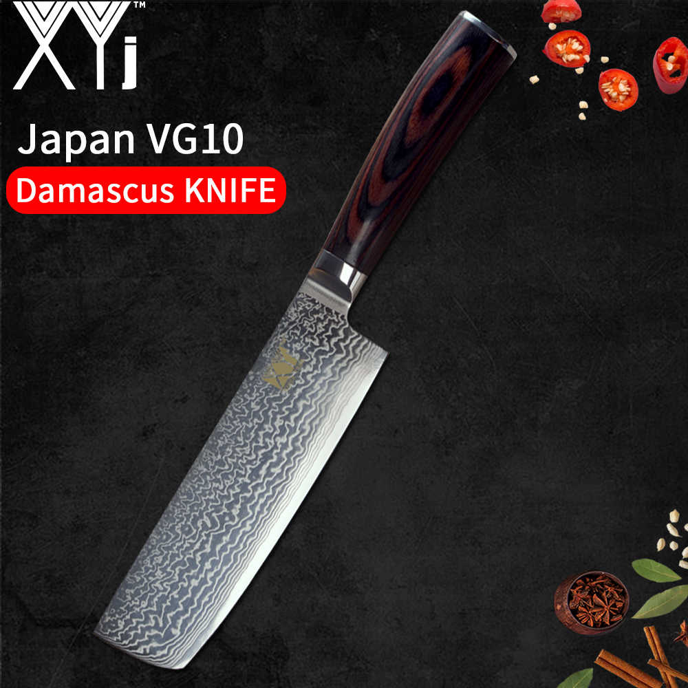 XYj Professional Damascus Kitchen Knives Color Wood Handle 5 Pcs Set 67 Layers VG10 Japanese Steel Blade Cooking Chef Knives