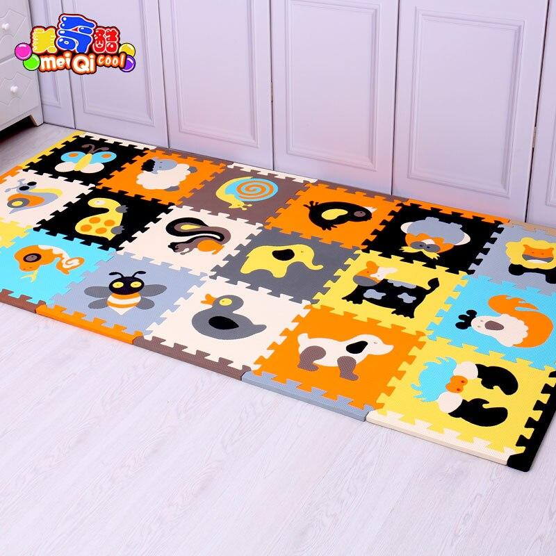 Mei Qi cool 18 pièces avec de longs bords bébé EVA mousse jeu Puzzle tapis de verrouillage exercice carreaux tapis de sol pour enfant, chaque 30 cm X 30 cm