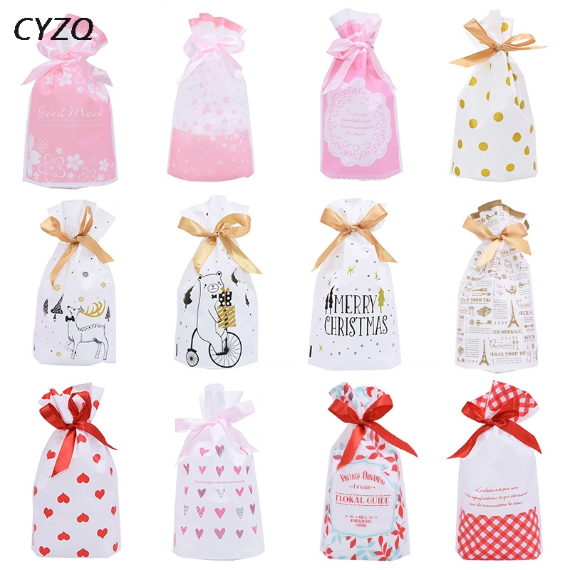 5pcs/lot Cute Bow Tie Cake Gift Bag Plastic Bags Birthday Party Candy Cookies Biscuits Package Bags Wedding Event Party Supplies