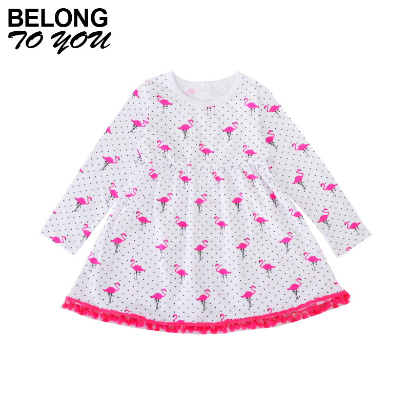 Baby Girl Dress with Flamingo Pattern Very Cute Style A Line Sleeveless Dresses for Girls Comfortable Summer Children Clothing