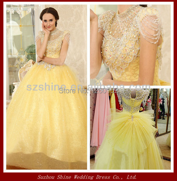 Online Shop YWD11008 Vintage Ball Gown Lace High Neck Yellow ...