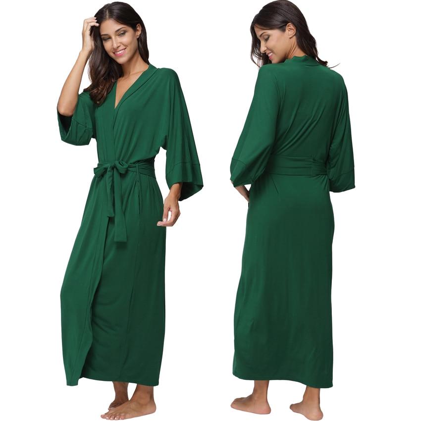f6a455a448 Women s Cotton Long Kimono Robe Sexy Party Wedding Bride Bridesmaids Robes  Ladies Modal Black Loungewear Nightgown Bathrobe-in Robes from Underwear ...