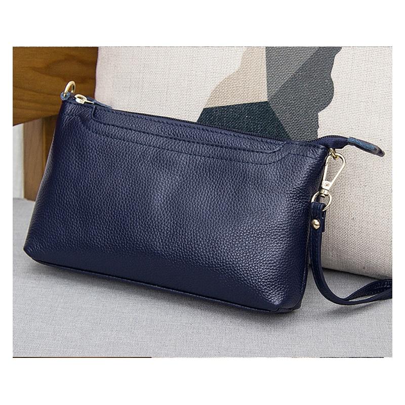 2018 High Quality Women Genuine Leather Bag Messenger Wristlet Day Clutch Bag Female Crossbody Bag First Layer Cowskin Bag