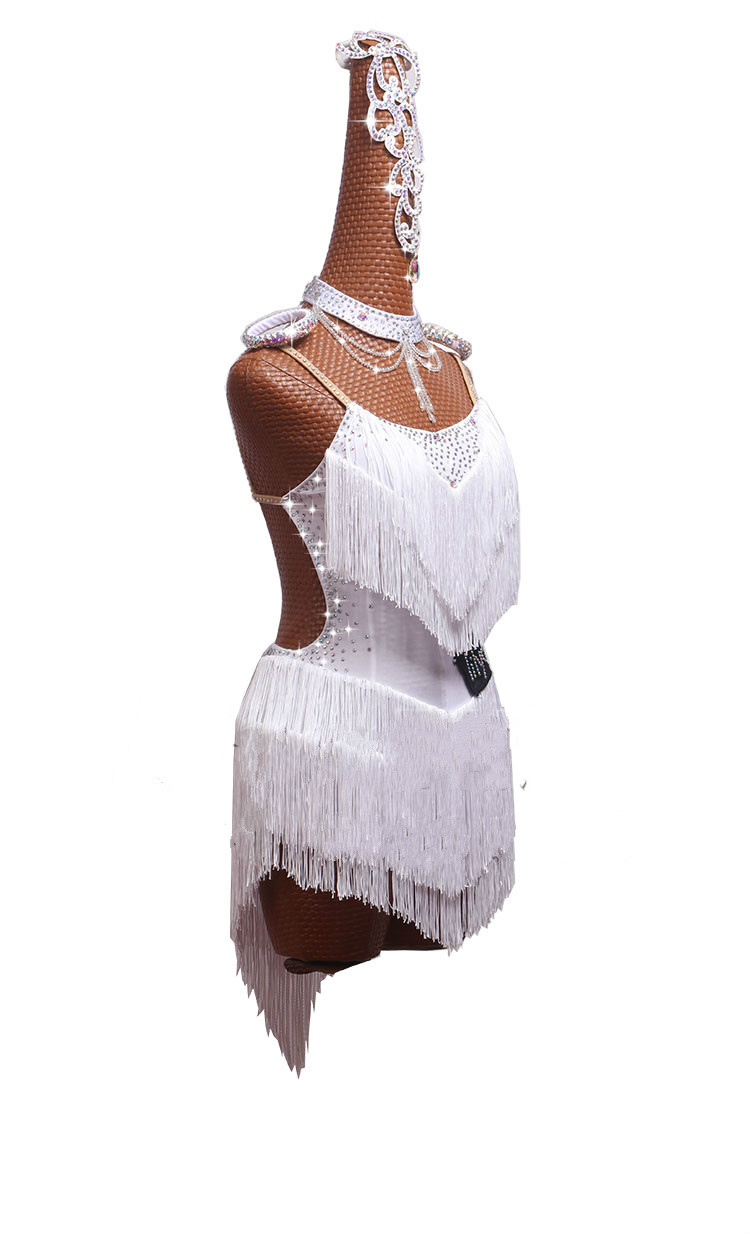 Profession Competition Latin Dance Dresses For Women White Club Party Dancer Singer Entertainer Salsa Fringe Tassel Dress Lady in Latin from Novelty Special Use
