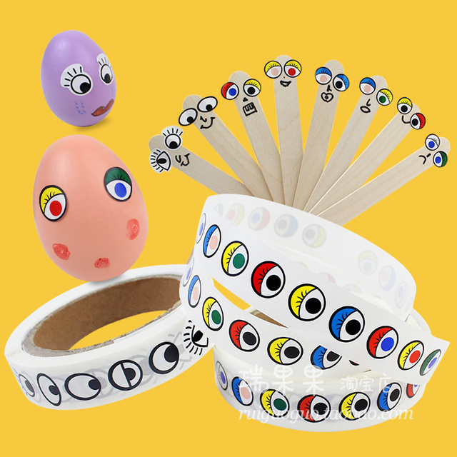 1 Roll1000PCS 16cm Different Shape Colorful Eye Stickers In Paper Roll Craft