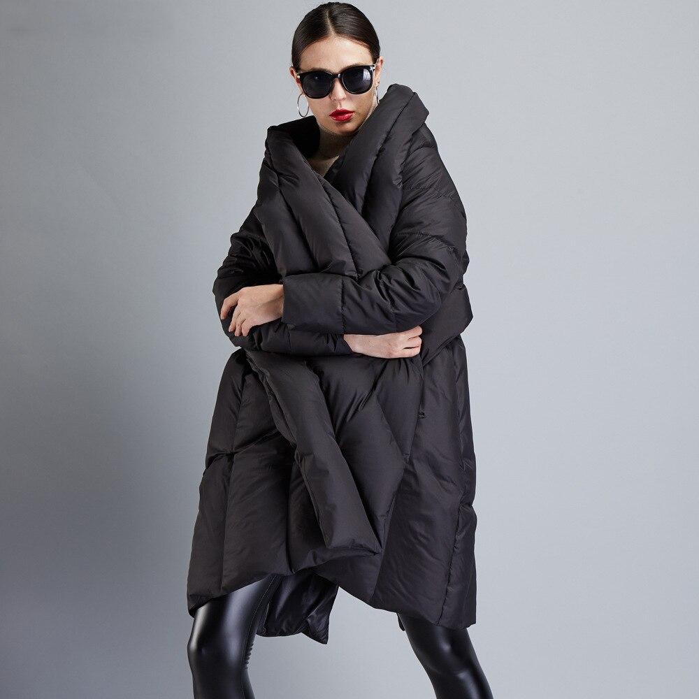 Hiver Manteau De Le Longueur Long Asymétrique Bas Mode Piste Qualité Noir Vers 2018 Haut Haute Européenne Veste Conception Femmes Gamme Marque IqE7vTw