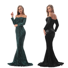Sequined Maxi Dresses Champagne Gold Navy Blue Floor Length Party Dresses Maxi Dress Evening Gown Dress Off The Shoulder