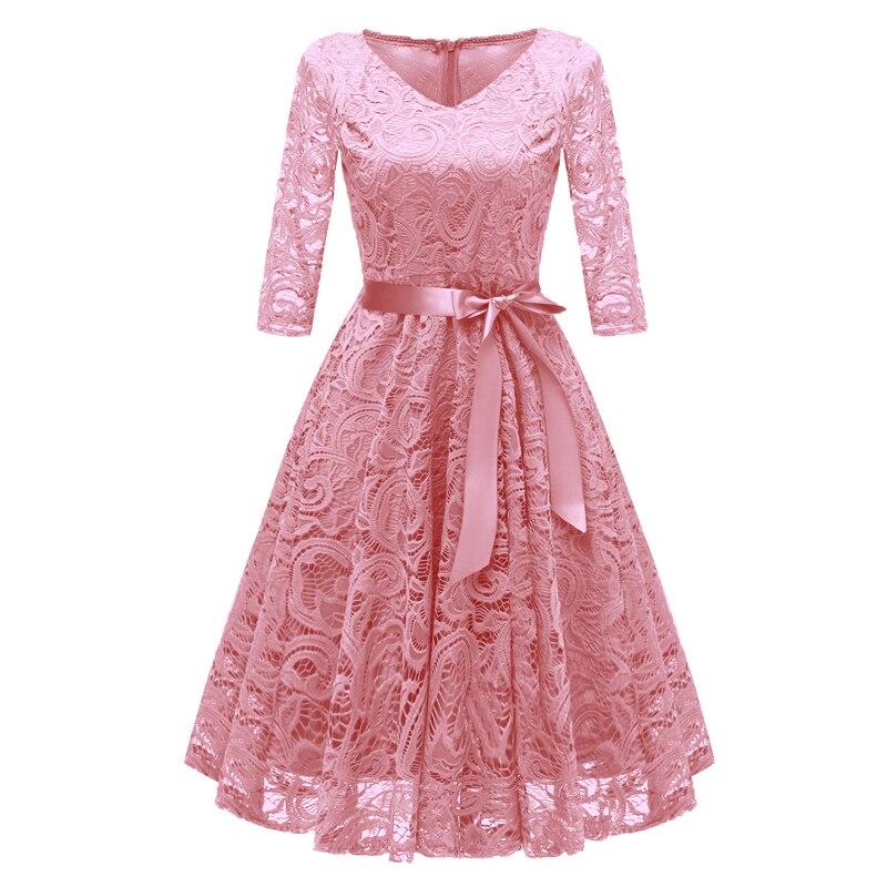 903f266b15f5 Vintage A-line Dress Women 1950s Crochet Lace Pleated Dress V Neck 3/4