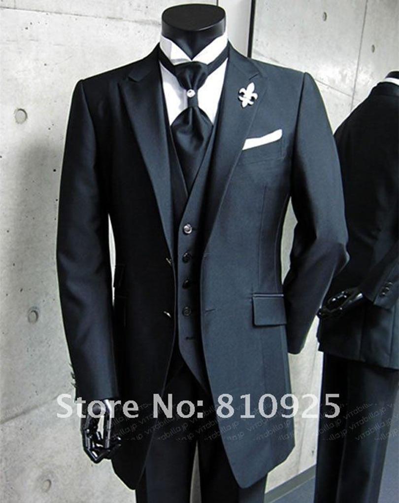 bespoke suit black!custom made groom wedding for men dinner,3 ...