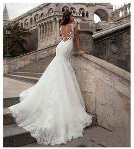 Image 4 - LORIE  Mermaid Wedding Dress See Through Back 2019 Vestidos de novia Vintage Sexy Scoop Neck Bride Dresses Floor length