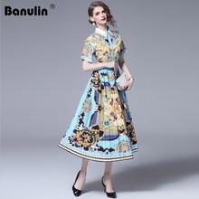 Banulin Fashion Designer Runway Dress Spring Summer Women Dress Short Sleeve Floral Stripe Print Slim Elegant Pleated Dresses nine west women s floral stripe pleated dress