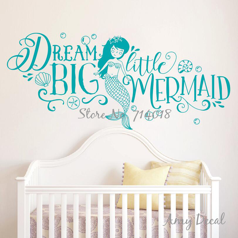 Dream Big Little Mermaid Wall Sticker Girls Nursery Decor Cute Mermaid  Quote Wall Stickers Kids Room Decoration Vinyl Mural A868 In Wall Stickers  From Home ... Part 47