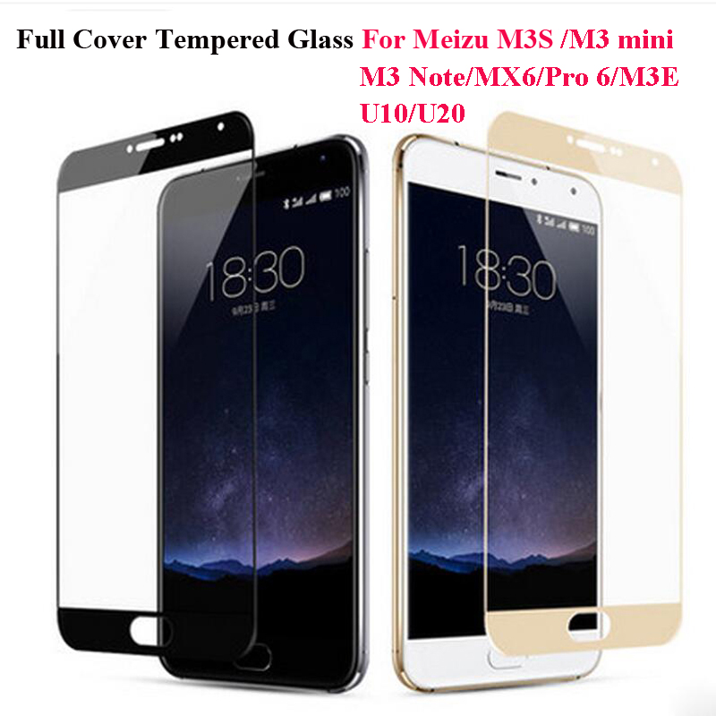 Full Cover Color Tempered Glass For Meizu M3S M3 Note M3 mini M3E Pro 6 MX6 U10 U20 Screen Protector Toughened Protective Film