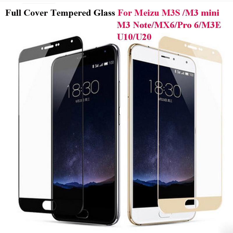 Full Cover Color Tempered Glass For Meizu M3S M3 Note M3 mini M3E Pro 6 MX6 U10 U20 Screen Protector Toughened Protective Film