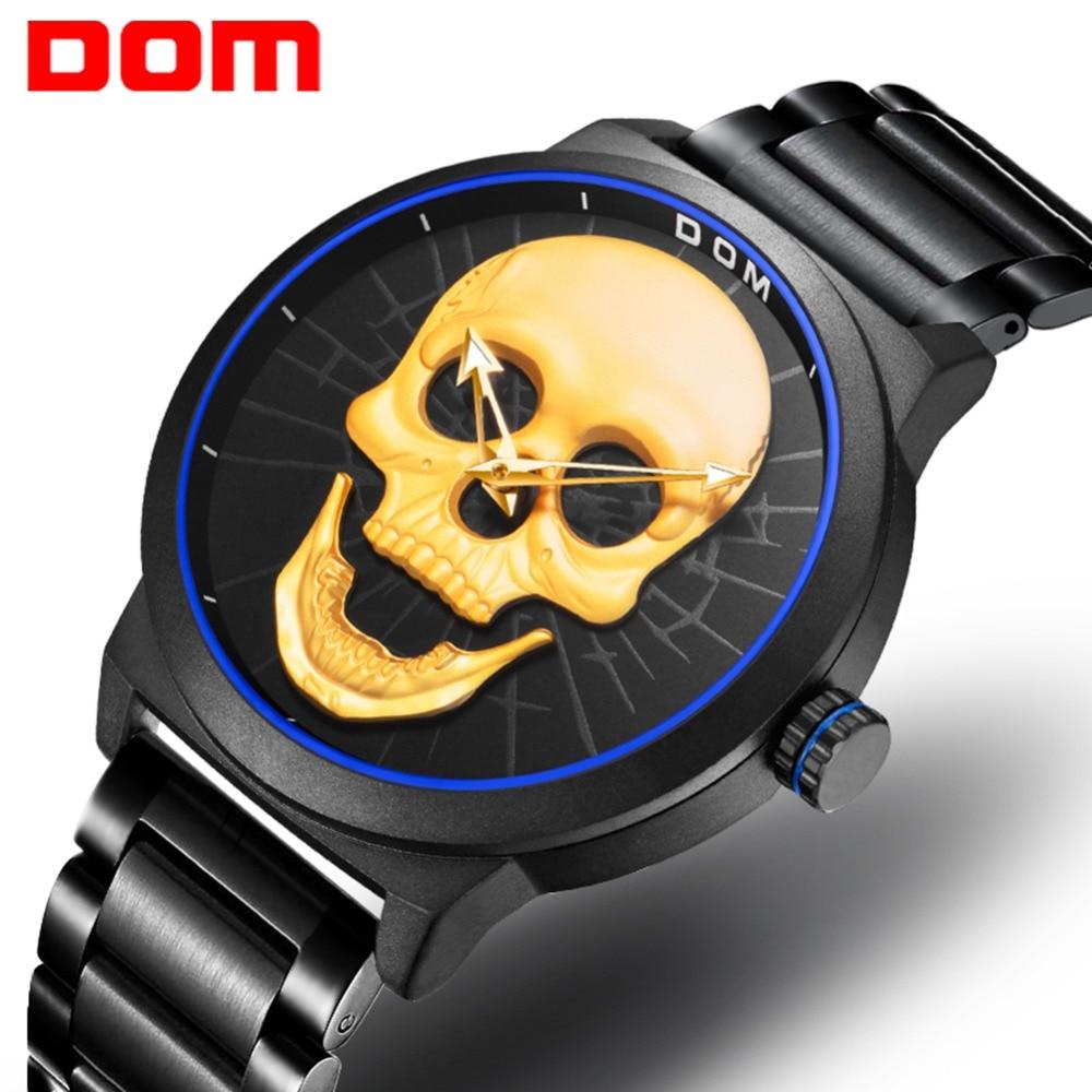 DOM Men's Watches Quartz Sport Gold Skull Style Creative Watches Fashion Casual Waterproof Clock relogio masculino M-1231DBK-1M9