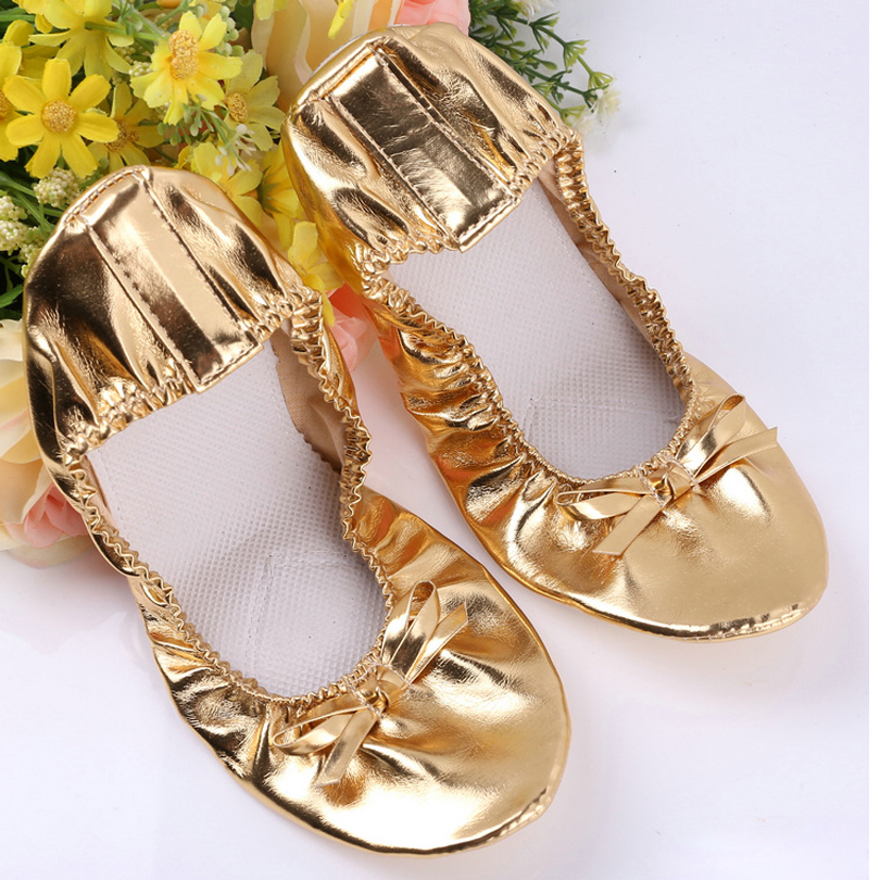 Ladies Belly Dancing Costume Shoes Children Indian Dance Performance Shoes Girls Ballet Dance Shoes PU Leather One Pair