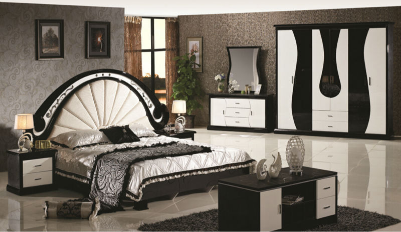 luxury suite bedroom furniture of europe type style including 1 bed 2 bedside table 1 chest a dresser and a makeup chair - Chair As Bedside Table