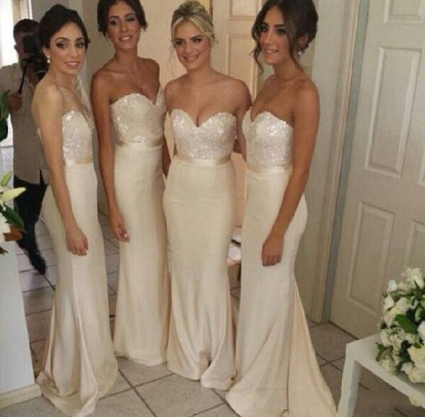 Cheap 2015 Hot Sale Sexy   Bridesmaid     Dresses   Mermaid/Trumpet Sweetheart Zipper Sequins Stretch Satin Sash Champagne High Quality