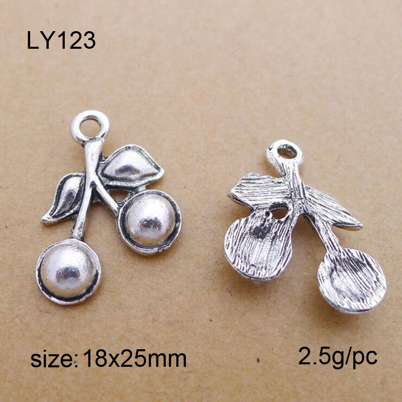 25Pcslot Vintage Silver Alloy Cherry Charms Pendant DIY Findings 18x25mm