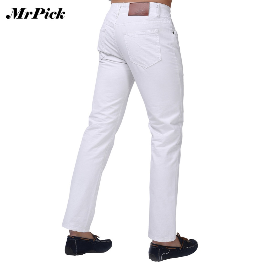 Jeans   Men 2015 New Brand Fashion Solid Slim Fit White Blue Black Candy Colors Plus Size Mid Straight Denim Pants F1241