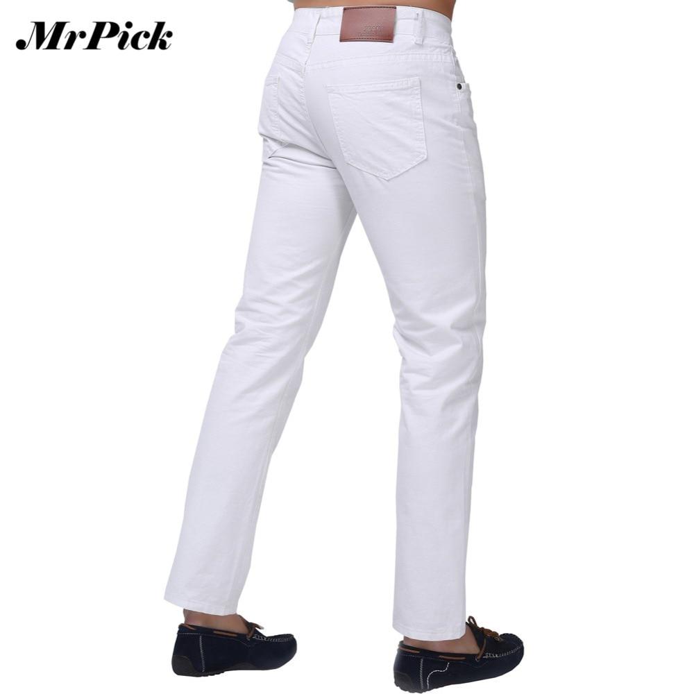 цена Jeans Men 2015 New Brand Fashion Solid Slim Fit White Blue Black Candy Colors Plus Size Mid Straight Denim Pants F1241 онлайн в 2017 году