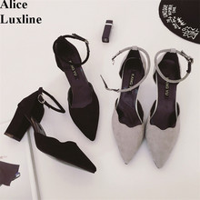 2016 Women Pumps Pointed Toe square High Heels Sexy Two Piece Ankle Strap Heels casual office ladies pumps shoes top quality RU