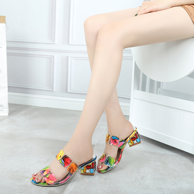 2019 New Summer Women Multi Colors Sandals Fashion High Heels Open Toe Beach Flip Flops Ladies Crystal Heels Shoes Woman XWT1893 2