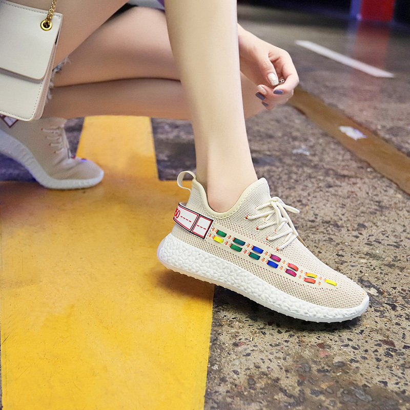 Flying Weaving Shoes Women Coconut Shoes sneaker Canvas Air breathable Run Shoes Fashion celebrity Thick bottom Casual 37